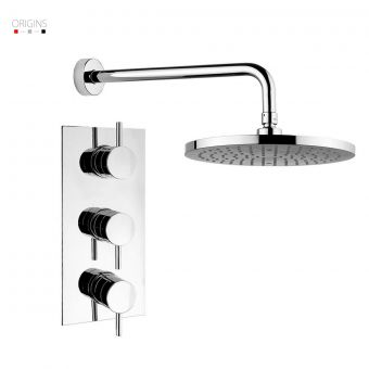 Origins Fusion Thermostatic Shower Valve with 3 Controls and a Fixed Shower Head
