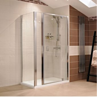Roman Lumin8 Corner Hinge and Inline Shower Enclosure