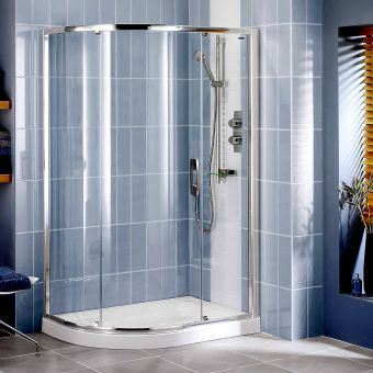 Showerlux Glide Round Offset Single Door Shower Enclosure