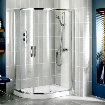 Showerlux Glide Round Offset Twin Door Shower Enclosure