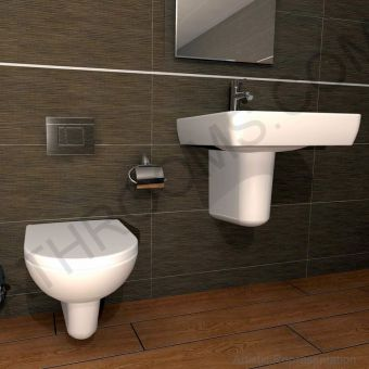 Vitra S20 Wall Hung WC & Seat with Grohe Cosmo Dual Flush and Cistern