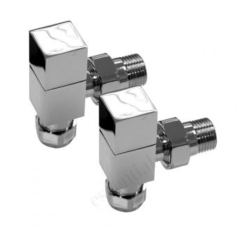 Essential Square Angled Radiator Valves (Pair 15 mm)