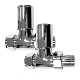 Essential Deluxe Straight Radiator Valves (Pair 15 mm).