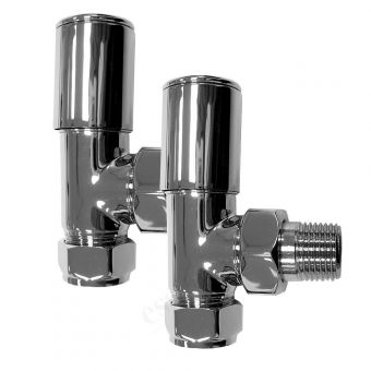 Essential Deluxe Angled Radiator Valves (Pair 15 mm). - 148997