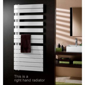 Zehnder Roda Spa Asymmetrical Quartz White Towel Drying Radiator