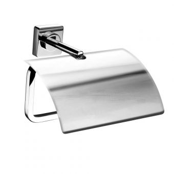 Inda Quadro Chrome Toilet Roll Holder with Cover