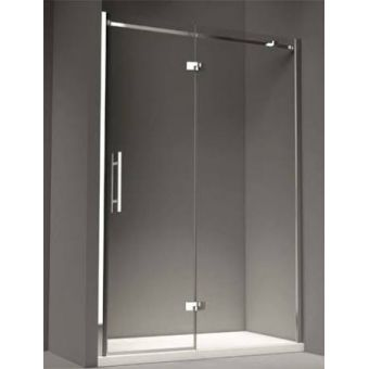 1200 wide Merlyn Series 9 Hinge Shower Door & Inline Panel Colour: True chrome Height: 2000mm 8mm toughened glass Angular chrome hinges 40mm adjustment Translucent seals Concealed fixings High level angular towel rail Door handed - LEFT HAND ONLY