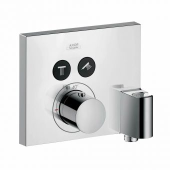 AXOR ShowerSelect Square Thermostatic Shower Mixer with 2 Outlets and FixFit Handset Holder - 36712000