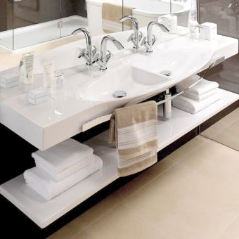 Laufen Palace Double Countertop Basin with Towel Rail - 14706WH