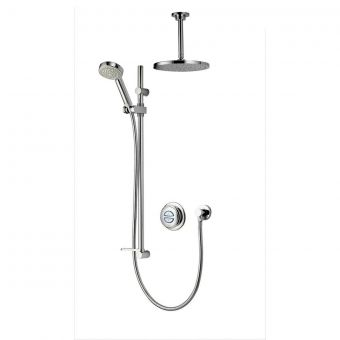 Aqualisa Quartz Smart Concealed Shower with Ceiling Mounted Fixed & Adjustable Heads