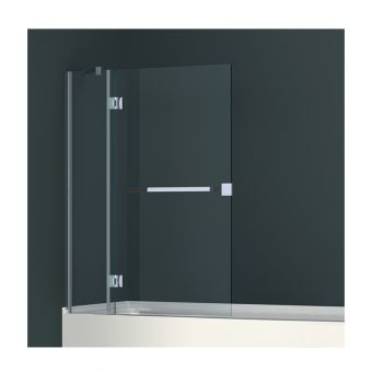 Abacus Minimal Two Part Hinged Bath Screen with Towel Bar