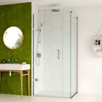 Matki Eauzone Plus Hinged Shower Door from Wall and Inline Panel for Corner