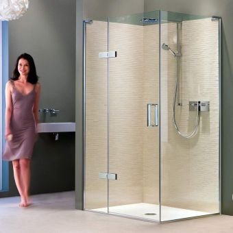 Matki EauZone Plus Hinged Shower Door with Hinge Panel for Corner