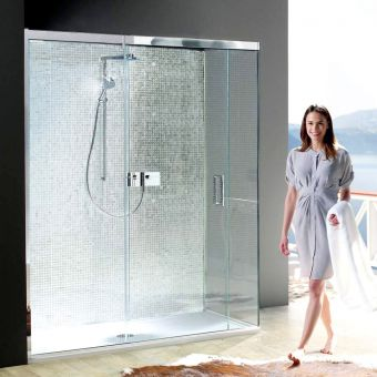 Matki EauZone Plus Sliding Shower Door with Side Panel for Corner