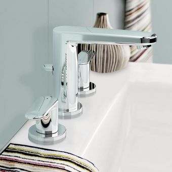 Grohe Europlus Three Hole Basin Mixer Tap S Size