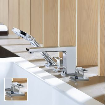 Hansgrohe Metropol 4 Hole Bath Mixer Tap with Shower Handset and Loop Handles