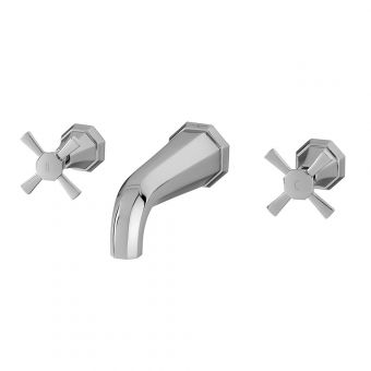 Perrin & Rowe Deco 3 Hole Wall Mounted Basin Mixer