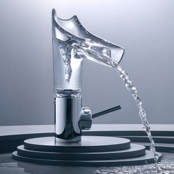 AXOR Starck V 140 Basin Mixer Tap with Glass Spout - 12112000