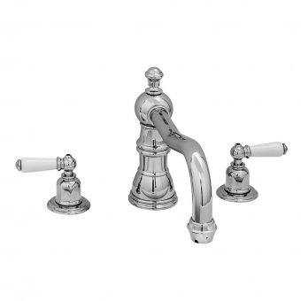 Perrin & Rowe Traditional Three Hole Bath Mixer Tap with Country Spout
