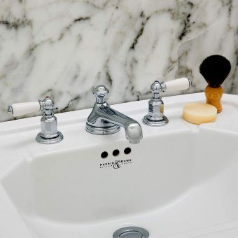 Perrin & Rowe Traditional Three Hole Basin Set with Low Profile Spout - 3706CP