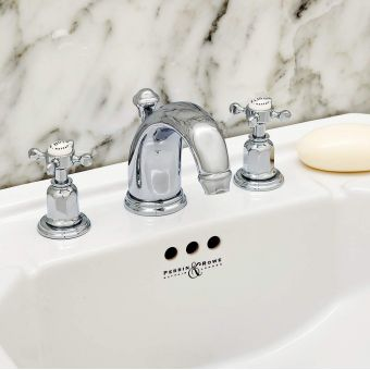 Perrin & Rowe Traditional Three Hole Basin Set with High Neck Spout - 3701CP