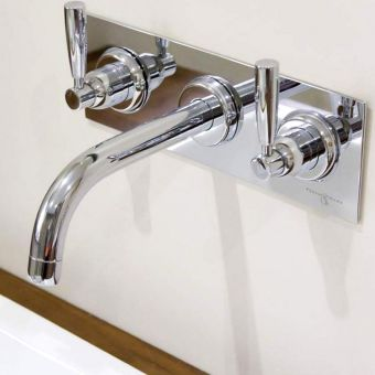 Perrin and Rowe Contemporary 3 Hole Basin Set with Back Plate and Lever Handles - 3334CP