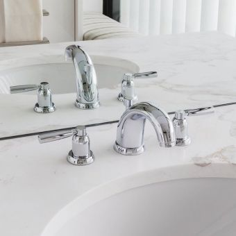 Perrin and Rowe Contemporary 3 Hole Basin Set with Pop up Waste - 3830CP