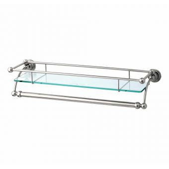 Perrin and Rowe Traditional Glass Shelf with Towel Rail - 6975CP