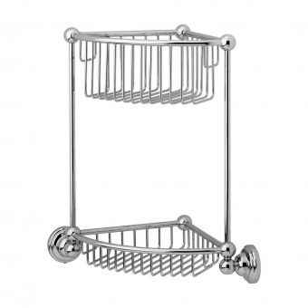 Perrin and Rowe Traditional Wall Mounted Two Tier Corner Basket - 6959CP