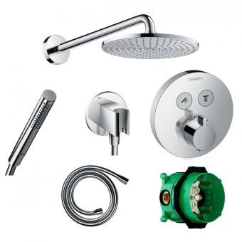 Hansgrohe Round Select Valve with Raindance 240 Overhead Shower and Axor Hand shower