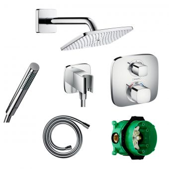 Hansgrohe Soft Cube Ecostat E Valve with Raindance 240 Overhead Shower and Axor Hand shower