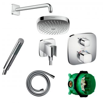 Hansgrohe Soft Cube Ecostat E Valve with Croma Select 180 Overhead Shower and Axor Hand shower
