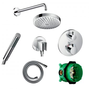 Hansgrohe Round Ecostat S Valve with Croma Select 180 Overhead Shower and Axor Hand shower