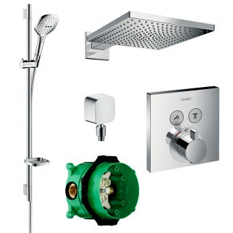 Hansgrohe Square Select Valve with Raindance 300 Overhead Shower and Select Rail Kit