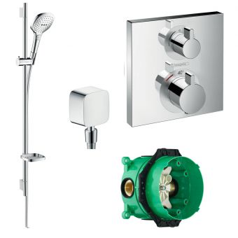 Hansgrohe Square Ecostat Valve with Raindance Select E 120 Rail Kit