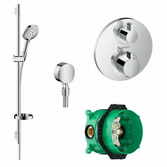 Hansgrohe Round Ecostat Valve with Raindance Select S 120 Rail Set