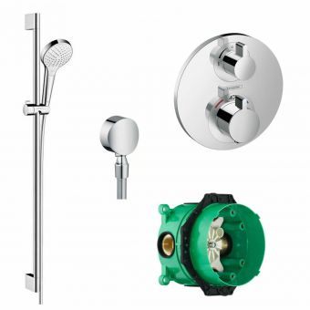 Hansgrohe Round Ecostat S Valve with Croma Select S 110 Vario Handshower and Rail Set