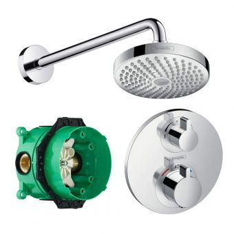 Hansgrohe Round Ecostat S Concealed Valve with Croma Select 180 Overhead Shower