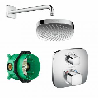 Hansgrohe Soft Cube Ecostat E Concealed Shower Valve with Croma Select 180 Overhead Shower