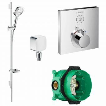 Hansgrohe Square ShowerSelect Concealed Valve with Raindance Select E 120 Rail Kit