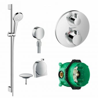 Hansgrohe Round Ecostat S Concealed Valve with Croma Select Rail Kit and Exafill