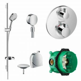 Hansgrohe Round Ecostat S Concealed Valve with Raindance Select Rail Kit and Exafill Bath Filler