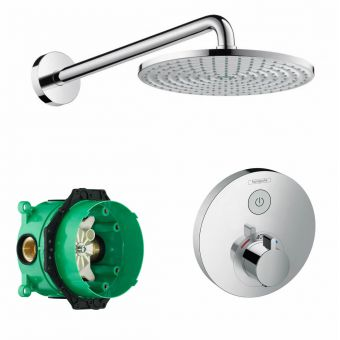 Hansgrohe Round ShowerSelect Concealed Valve with Raindance 240 Overhead Shower