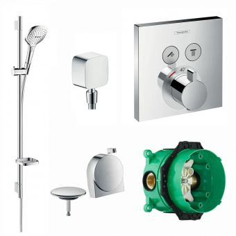 Hansgrohe Square ShowerSelect Concealed Valve with Raindance Select Rail Kit and Exafill Bath Filler