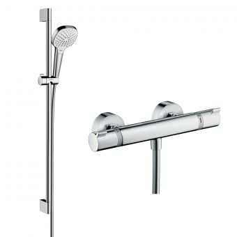Hansgrohe Soft Cube Ecostat Exposed Valve with Croma Select 110 Rail Kit