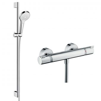 Hansgrohe Round Ecostat Valve with Croma Select S 110 Rail Kit