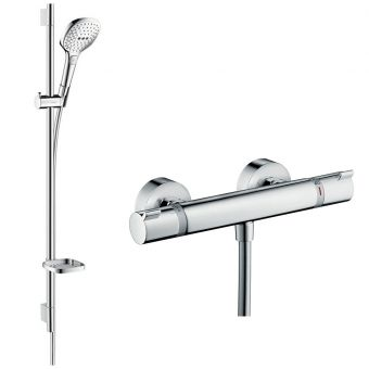 Hansgrohe Soft Cube Ecostat Exposed Valve with Raindance Select 120 Rail Kit