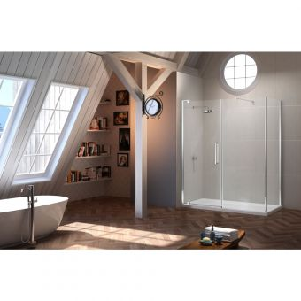 Merlyn Series 10 Pivot Shower Door and Inline Panel
