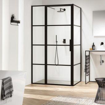 Impey Soho Black Hinged Door with Inline Panel Enclosure