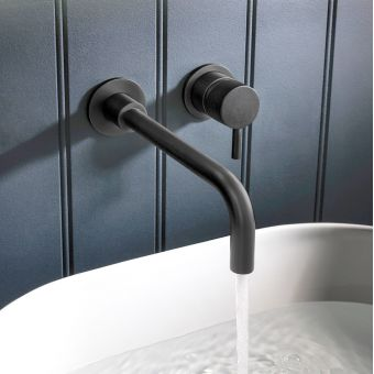 Crosswater MPRO Matt Black 2 Hole Wall Mounted Basin Tap